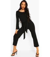 geribbelde culotte jumpsuit met lange mouwen en ceintuur, black