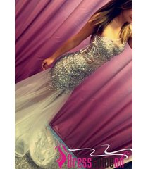 2015 beautiful mermaid one shoulder sequined long prom/evening/formal dresses l4