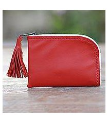 leather wallet, 'small and simple in red' (indonesia)