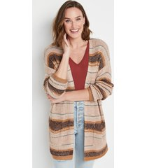 maurices womens brown stripe waffle knit cardigan