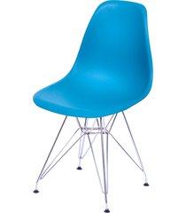 cadeira dkr polipropileno e base de metal pian – azul petróleo