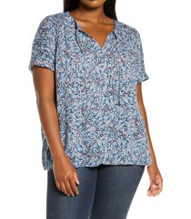 plus size women's caslon print split neck top, size 4x - blue