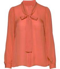 solid silk bow blse blouse lange mouwen oranje michael kors