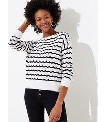 loft striped stitchy sweater