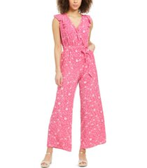 charter club petite printed flutter-sleeve jumpsuit, created for macy's