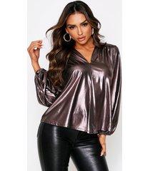 balloon sleeve metallic oversized shirt, silver