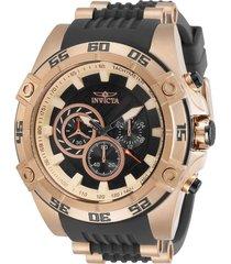reloj invicta oro rosa, negro modelo 301gn para hombres, colección speedway