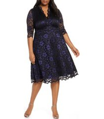 plus size women's kiyonna mon cheri lace cocktail dress, size 1x - blue