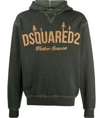 dsquared2 winter season print hoodie - green