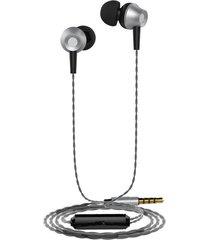 audífonos, m299 control de volumen de metal auricular estéreo de 3,5 mm en el oído con micrófono auriculares de bajo estupendo earbud para teléfono para sony iphone samsung (gris)