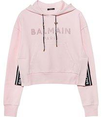 balmain cropped strass logo hoodie - eco sustainable