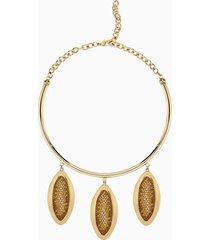collana di grande stile evil eye, marrone, placcato oro