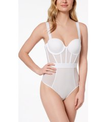 dkny sheers strapless mesh-panel thong bodysuit dk6008
