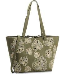 bolsa sacola desigual dupla face com necessaire verde - kanui