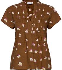 blouse w. pleats blouses short-sleeved brun coster copenhagen