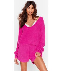 womens get a luxe in fluffy knit shorts lounge set - fushia