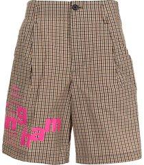 kolor plaid-check pattern shorts - multicolour