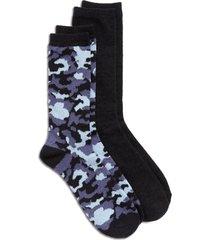 men's nordstrom assorted 2-pack butter light crew socks, size regular - blue