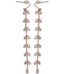 cubic zirconia linear fly-away drops earrings in fine silver plate