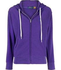 polo ralph lauren micro pony zip-up hoodie - purple