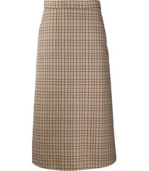 msgm plaid check a-line skirt - neutrals