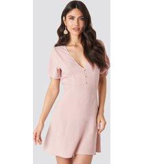na-kd tie sleeve mini dress - pink