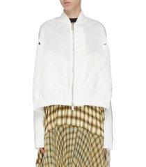 fishtail back paneled bomber jacket