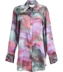 pink cloud print silk tunic shirt dress