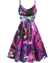 galaxy print sequined flared cami dress