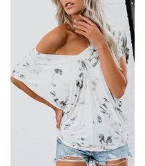 yoins camiseta gris claro de manga corta con cuello en v y tie dye
