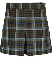 tibi spencer cargo plaid skort - green