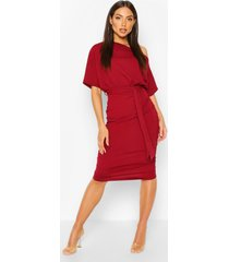 batwing ruched side midi dress, wine