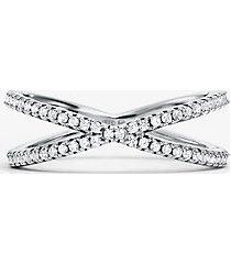 mk anello componibile in argento sterling con placcatura in metallo prezioso e pavé - argento (argento) - michael kors