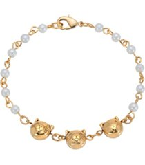 2028 women's triple cat face with imitation pearl chain bracelet