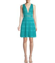 m missoni women's lattice-knit a-line dress - turquoise - size 44 (8)