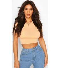recycled basic cap sleeve crop top, apricot