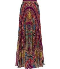 etro maxi plissé skirt with floral print