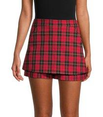 maje women's high-waist plaid mini skort - red - size 34 (2)