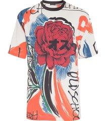t-shirt masculina maxi over lenço floral grunge - vermelho