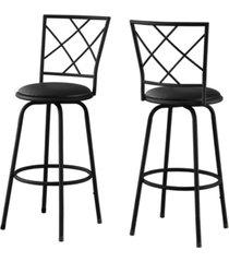 monarch specialties 2 piece leather look bar stool set
