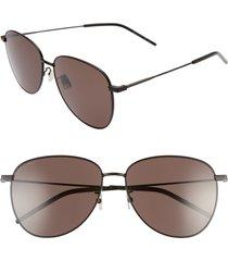 women's saint laurent 60mm pilot sunglasses - semi matte black/ black