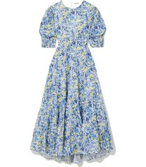 agyness cutout tiered floral-print fil coupé cotton maxi dress