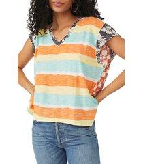 women's free people paradise city stripe mix print cotton & modal top, size medium - blue