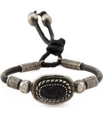 saint laurent concho style bracelet - black