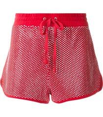 juicy couture swarovski embellished velour shorts - red