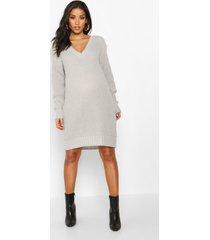 maternity v neck sweater dress, light grey