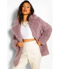 textured teddy faux fur coat, light grey