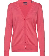light cotton vneck cardigan gebreide trui cardigan roze gant