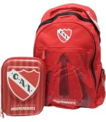 combo escolar rojo independiente mochila y cartuchera