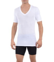 men's tommy john second skin micromodal deep v-neck undershirt, size large - white